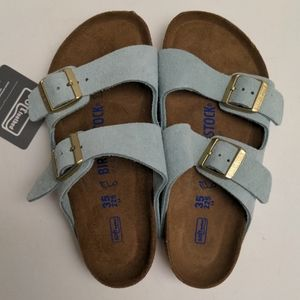 Birkenstock Arizona Blue Suede Leather Sandals 35